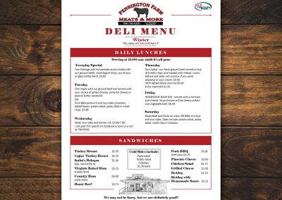 Pennington Farm Meats & More Menu