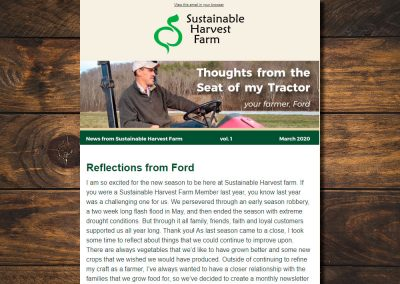 Sustainable Harvest Farm Newsletter